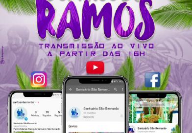 Vídeo: Missa de Domingo de Ramos no Santuário São Bernardo será transmitida pelas redes sociais
